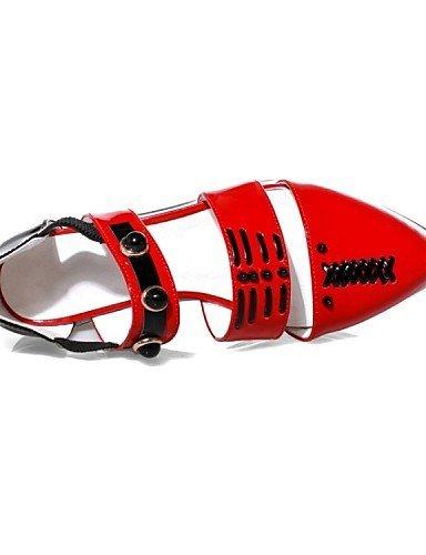 Mandorle Scarpe Delle Shangyi Sandali Di Mandorle Basso Casual Pelle Rosso Tacco Vacchetta Punta Aguzzi Donne OvOxqZr