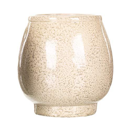 Classic Round Vase Glazed Ivory 7 x 7 Resin Stone Standing Planter Pot