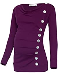 Women's Long Sleeve Cowl Neck Buttons Maternity Tunic Top...