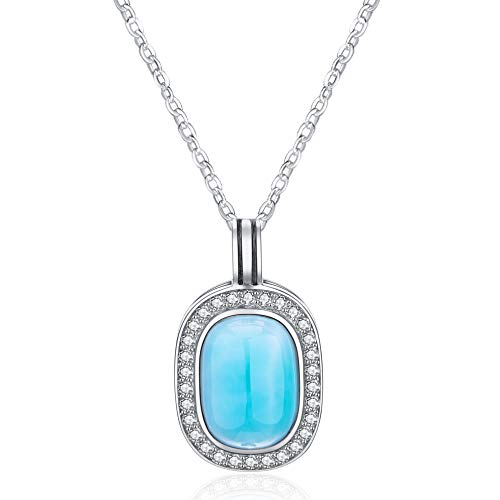 Sterling Silver Jewelry Larimar Pendant Necklace Natural Genuine Fashion Handmade Gemstones Larimar Jewelry for Women and Girl Classic Necklace with 18