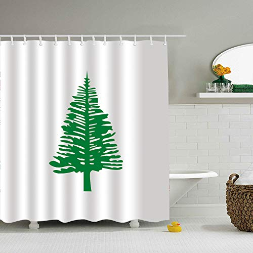 (BiesMo Norfolk Island Pine Tree Shower Curtain Mildew Resisant Fabric Bathroom Curtain, Water Repellent 72 X 72 Inch)