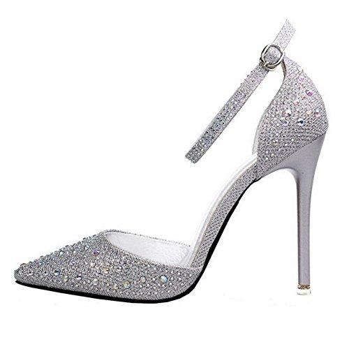 TAOFFEN Women Fashion Ankle Strap Sandals Court Shoes Silver SMaN31