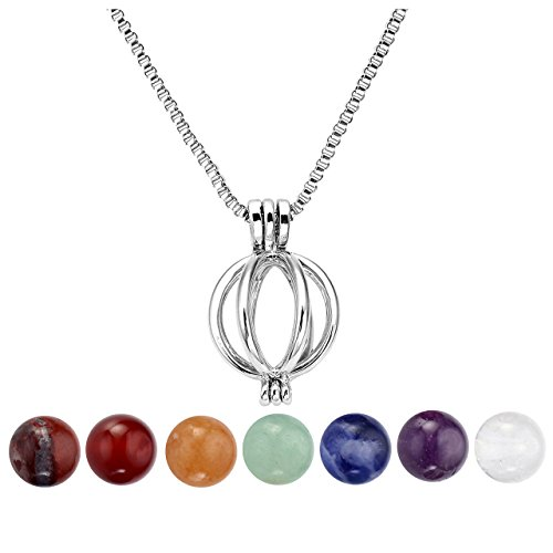 8 Mm Pumpkin - Top Plaza 7 Chakra 8mm Gemstone Reiki Crystal Healing Energy Ball Reiki Howllow Locket Pendant Necklace(Pumpkin)