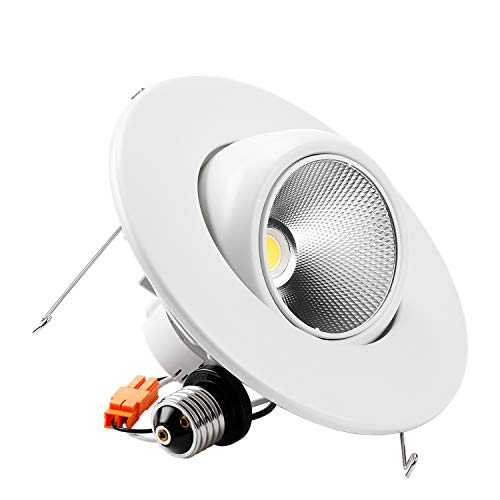 TORCHSTAR High CRI90+ 6inch Dimmable Gimbal Recessed LED Downlight, 10W (75W Equiv.), Energy Star, 5000K Daylight, 950lm, Adjustable LED Retrofit Lighting Fixture, 5 Years Warranty