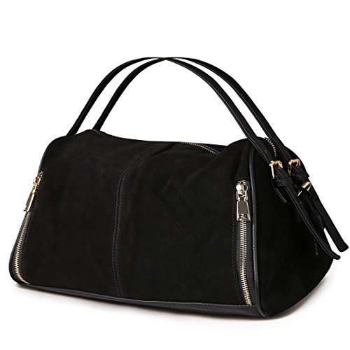 Boston Black Bag - Nico Louise Women Boston Bag Genuine Suede Leahter Shoulder Travel Bag Casual Handbag (Black)