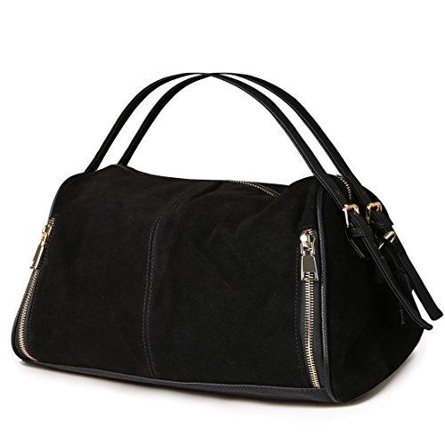 Nico Louise Women Boston Bag Genuine Suede Leahter Shoulder Travel Bag Casual Handbag (Black)