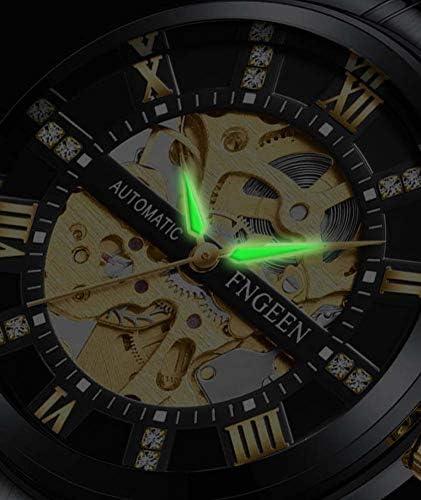 POPDQ Orologi Meccanici da Uomo Orologi da Polso Impermeabili con Numeri Romani e Cintura in Acciaio Inossidabile,d\'oro,A