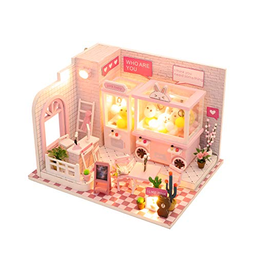 Cool Beans Boutique Miniature Wooden Dollhouse DIY Kit Pink Claw Machine Shop with Dust Cover - Architecture Model kit (English Manual)