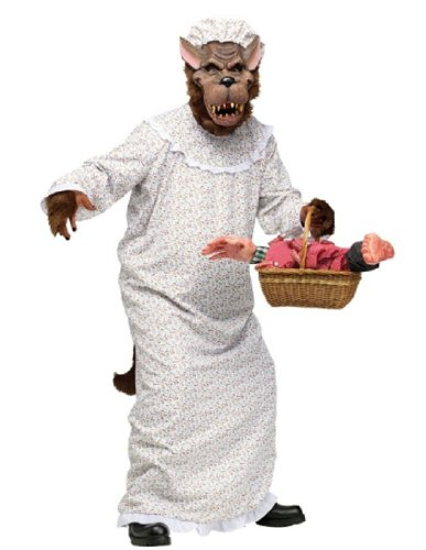Granny Costume Accessories (Fun World Women's Granny Wolf Costume One Size Fits Most White and Brown)