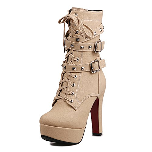 - Odetina Beige Women's Sexy Lace-Up Zipper Buckle Strap Chunky High Heel Platform Mid Calf Punk Boots with Rivet Stud 7 M US