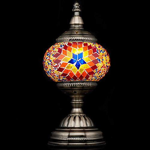 (Mosaic Lamp-Handmade Turkish Mosaic Table Lamp with Mosaic Lantern,Bronze Base,Unique Table Lamp for Room Decoration(Red)-A5)
