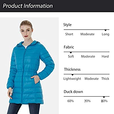 Wantdo Women's Packable Down Jacket Puffer Ultra Light Weight Hooded Long Coat: Clothing
