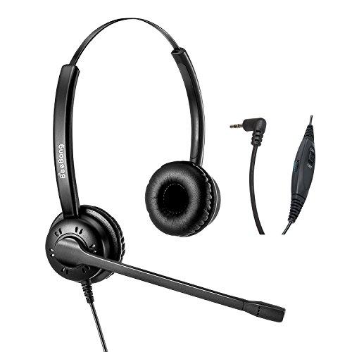 2.5mm Headset Corded Telephone Headset with Noise Cancelling Microphone for AVAYA Cisco Ericsson-LG Panasonic Polycom Yealink