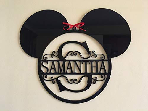 Mickey Mouse Ears Monogram Personalized Name Acrylic Sign Split Letter Wall Door Hanger Custom Sign Disney Wreath Nursery Decor Kids Bedroom Hanging Signs Minnie Mouse Gift for Kids Birthday -