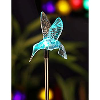 BRIGHT ZEAL LED Solar Garden Stake Lights With Vivid Life Size Figurines ( HUMMINGBIRD)