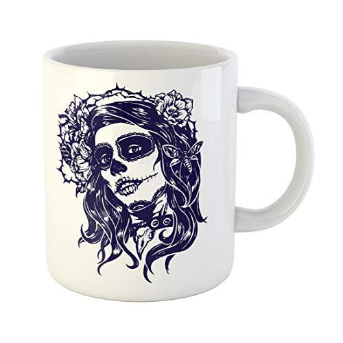 Semtomn Funny Coffee Mug Girl with Skeleton Make Up Vector Sketch Santa Muerte Woman 11 Oz Ceramic Coffee Mugs Tea Cup Best Gift Or Souvenir