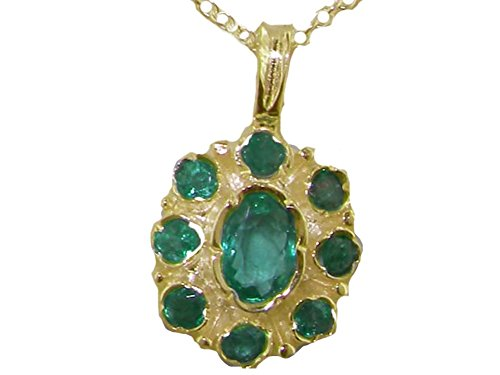 Womens Solid Yellow 10K Gold Natural Emerald Pendant Necklace with 20