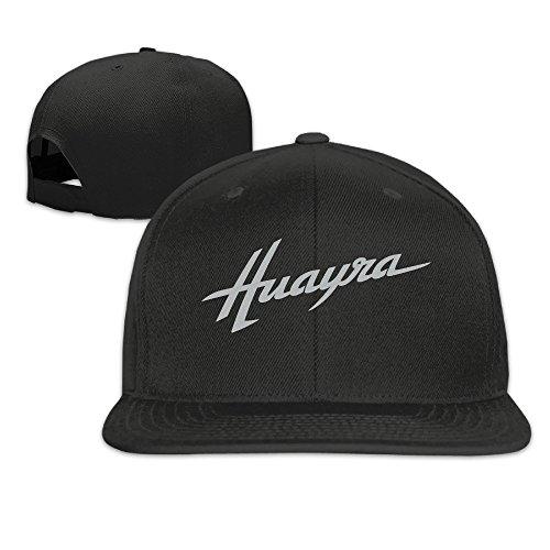 HmkoLo Pagani Huayra Cotton Flat Bill Baseball Cap Snapback Hat Unisex Black