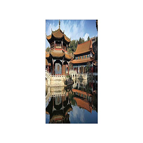 3D Decorative Film Privacy Window Film No Glue,Ancient China Decorations,Courtyard of Old Temple Main Worship Hall Religious Heritage Decorative,Multicolor,for Home&Office -