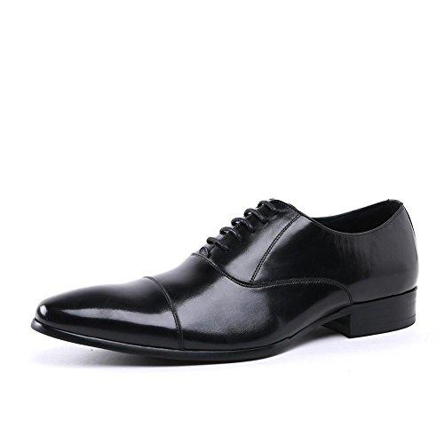 Hombres Oxfords Cuero Zapatos Boda Formal Negocio Encajes Puntiagudo Dedo del pie Negro marrón Oficina Trabajo Fiesta tamaño 38-44 Negro