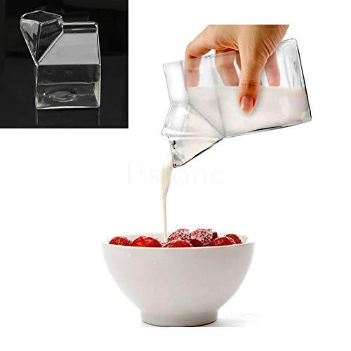 Glass Pint - Unique Design Half Pint Creamer Milk Carton Glass Cup Coffee Water Drink Bar - Drinking Glassware Backpack Treat Women Prologue Vase Necklace Erasers Carton Plastic Pump Squis