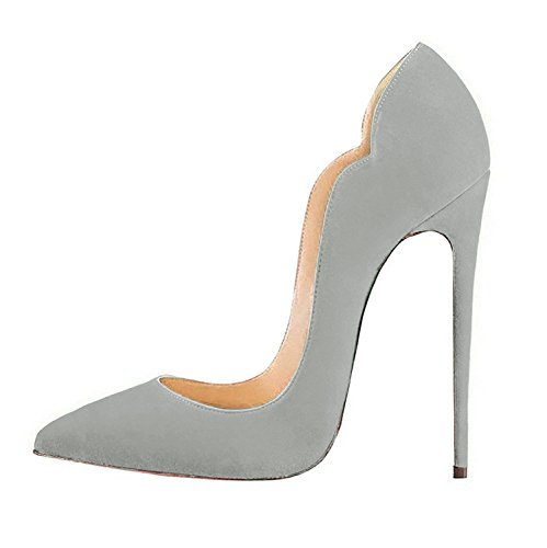 FSJ Women Classic Pointed Toe High Heels Sexy Stiletto Pumps Office Lady Dress Shoes Size 4-15 US Grey-suede the best store to get free shipping visa payment for cheap sale online cheap sale release dates xp527uBl3