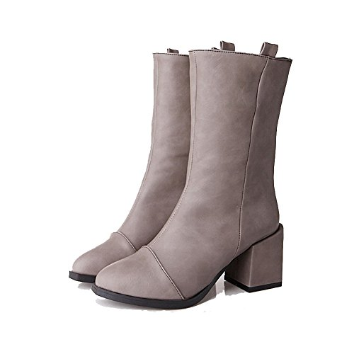 AgooLar Women's High-Heels Solid Pointed Closed Toe Soft Material Pull-On Boots Gray FiEs90M3b