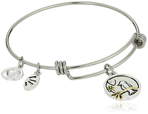 Two-Tone Silver Plated When I Think of You My Heart Sings a Song Adjustable Bangle Bracelet