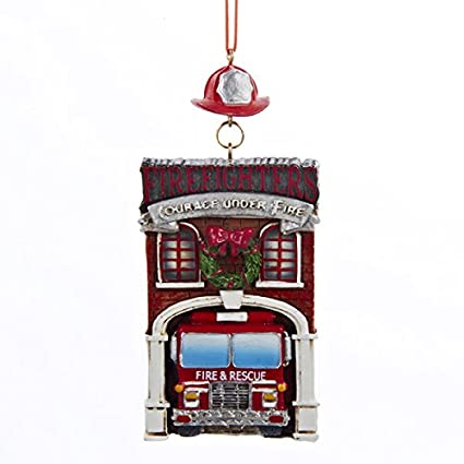 kurt adler fire department with truck christmas ornaments