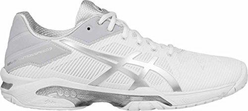 ASICS Women's Gel-Solution Speed 3 Tennis Shoe, White/Silver, 7 M - Game Tennis Shoe 3