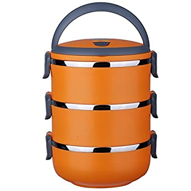 Stacking 3 Tier Vacuum Insulated Stainless Steel Lunch Box Bentos / Food Carrier /Food Container / Taffin Lunch Box Containers Portion Control Containers 2.2 L Orange
