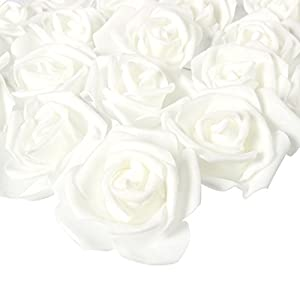 Juvale Rose Flower Heads - 100-Pack Artificial Roses, Perfect Wedding Decorations, Baby Showers, Crafts - Snow White, 3 x 1.25 x 3 inches 64