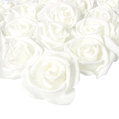 Juvale Rose Flower Heads - 100-Pack Artificial Roses, Perfect Wedding Decorations, Baby Showers, Crafts - Snow White, 3 x 1.25 x 3 ()