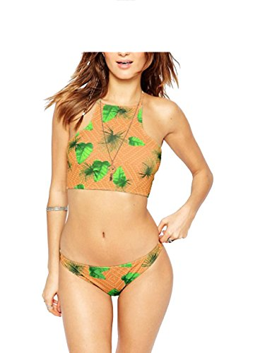 Womens Bikini Swimwear Swimsuit Tree Leaf Print - 9