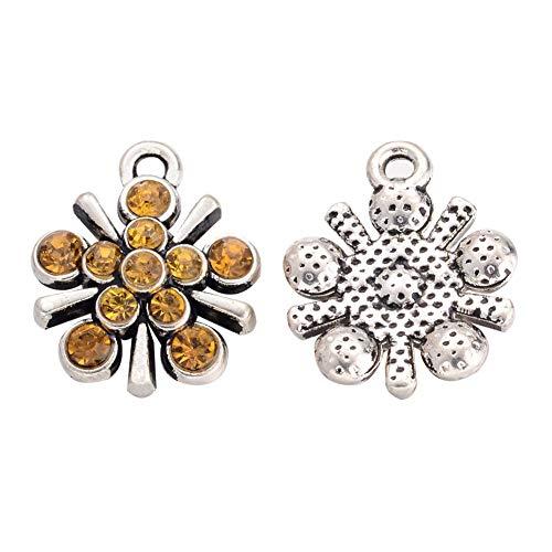 PH PandaHall 10 pcs Flower Shape Antique Silver Tone Alloy Rhinestone Pendants for Jewelry Making, Light Colorado Topaz ()