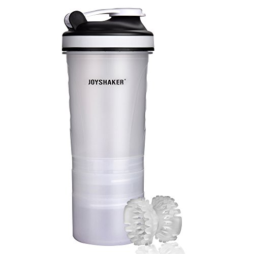 Joyshaker BPA Free Sports Gym Water Bottle with Storage Food Grade Safe Plastic Protein Shaker Bottle Leak Proof Reusable Insulated Sports Drinking Bottle with Blender for Adults Fitness 750 ml 26 oz