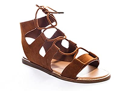 Bamboo Women's Stardust Cut-Out Lace-Up Gladiator Flat Sandal