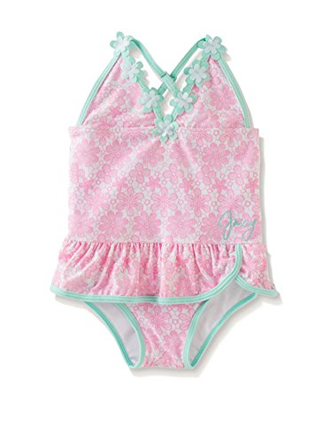 Juicy Couture Baby Girls Pink & Aqua Floral Print 1pc Swimsuit (24M)