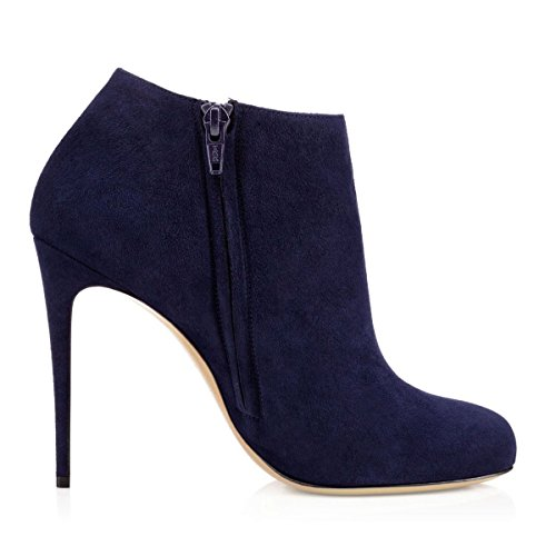 2015 cheap price VOCOSI Women's Round Toe Ankle Boots Stilettos High Heels Classic Dress Booties Dark Blue(021) cheap sale outlet free shipping buy fashion Style sale online best store to get sale online nqJ638IB0