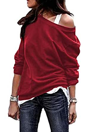 Jmwss QD Womens Long Sleeve Sexy Round Neck Pullover Sweatshirt Blouse Tops Wine Red M