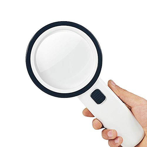 BIZI Magnifying Glass high Magnification Optical Handheld Magnifying Glass with LED Lights 30 Times 100MM HD Children's Old Reading Identification HD Magnifier