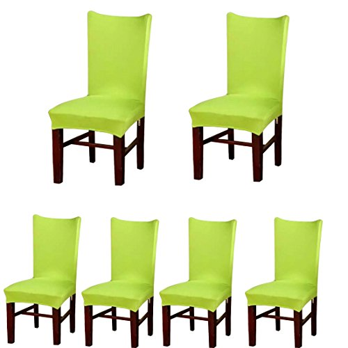 Deisy Dee Stretch Solid Color Chair Covers Removable Washable for Hotel Dining Room Ceremony Chair Slipcovers Pack of 6 C093 (Lemon Green) ()