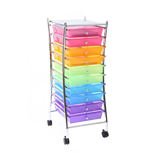 Finnhomy 10 Drawer Rolling Cart Organizer,Storage Cart with Drawers, Utility Cart for School, Office, Home, Beauty Salon Storage, Semi-transparent Mutli Color by Finnhomy