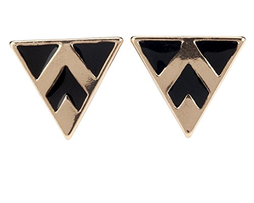 Gorgeous Pair of Earrings / Ear Studs In Triangle Shapes And Golden Metal And Black Enamel By VAGA® -