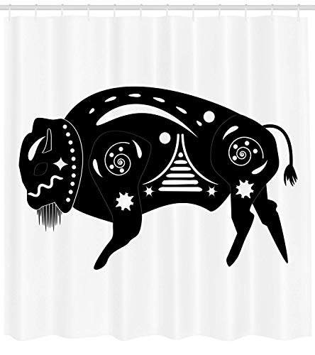 - Wlioohhgs Bison Shower Curtain, Ethnic Sacred Buffalo Bull in Ancient Native Mayan Aztec Geometric Ornaments, Cloth Fabric Bathroom Decor Set with Hooks, 84 Inches Extra Long, Black and White