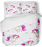 Emvency 3 Piece Duvet Cover Set Breathable Brushed Microfiber Fabric Pink Animal Cute Girlish with Little Pegasus and Stars on White Character Baby Bedding Set with 2 Pillow Covers Twin Size