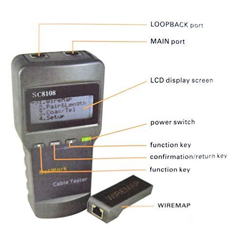 Gris SC8108 Probador de red multifuncional Medidor de cable de LAN port/átil y probador Pantalla de LCD con rastreador de cables 5E 6E RJ45