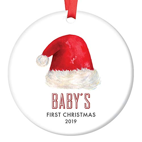 (Baby's First Christmas Ornament 2019 Gender Neutral Boy or Girl Baby Shower Gift Cute Santa Hat 1st Holiday Newborn Son Daughter New Parents Keepsake 3