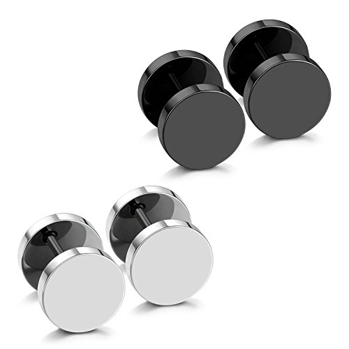 JewelrieShop Black Faux Gauges Plugs Earrings for Men Stainless Steel Dot Disc Studs Circle Flat Back Cheater Tunnel Dumbbell Earrings Women(18 Gauges,2 Pairs,9mm,Black and -