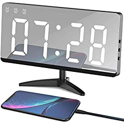 EVILTO Table Alarm Clock, 6.8 Mirror Surface Decorative Digital Modern Alarm Clock with Temperature, 12/24H Mode, Snooze, Dimmer,Adjustable Alarm Volume for Room Decor(White)